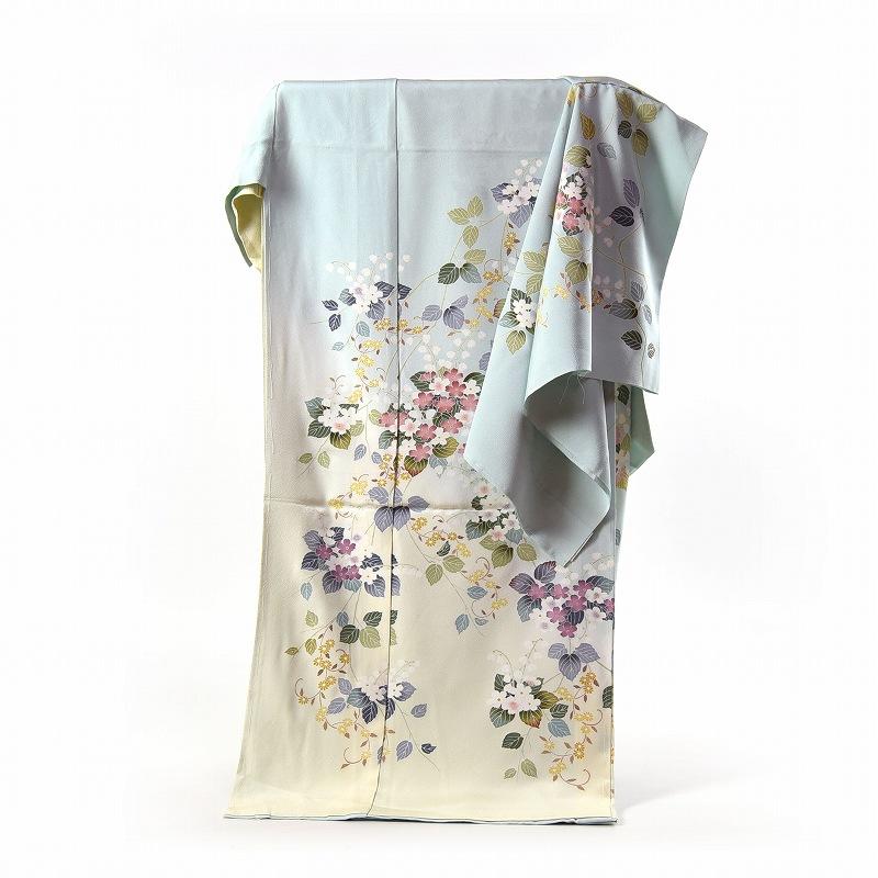 訪問着 フルオーダー手縫いお仕立て付き 紫陽花のようなお花 淡い緑色、黄色 身長170cmまで、裄70.5cmまで 通年の着用可 送料無料 セミフォーマル