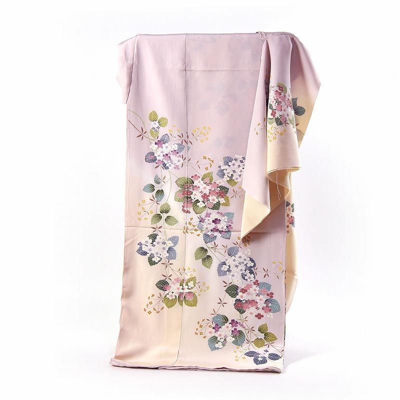 訪問着 フルオーダー手縫いお仕立て付き 紫陽花のようなお花 淡い桃色、クリーム色 身長170cmまで、裄70.5cmまで 通年の着用可 送料無料 セミフォーマル