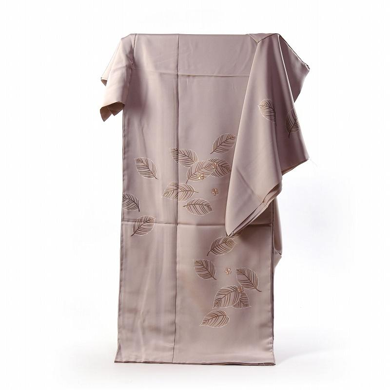 訪問着 手縫いお仕立て付き 染の北川 手描き 葉っぱに刺繍の桜 ごく薄い小豆色 身長167cm位まで、裄68.5cmまで 送料無料 付下げ訪問着