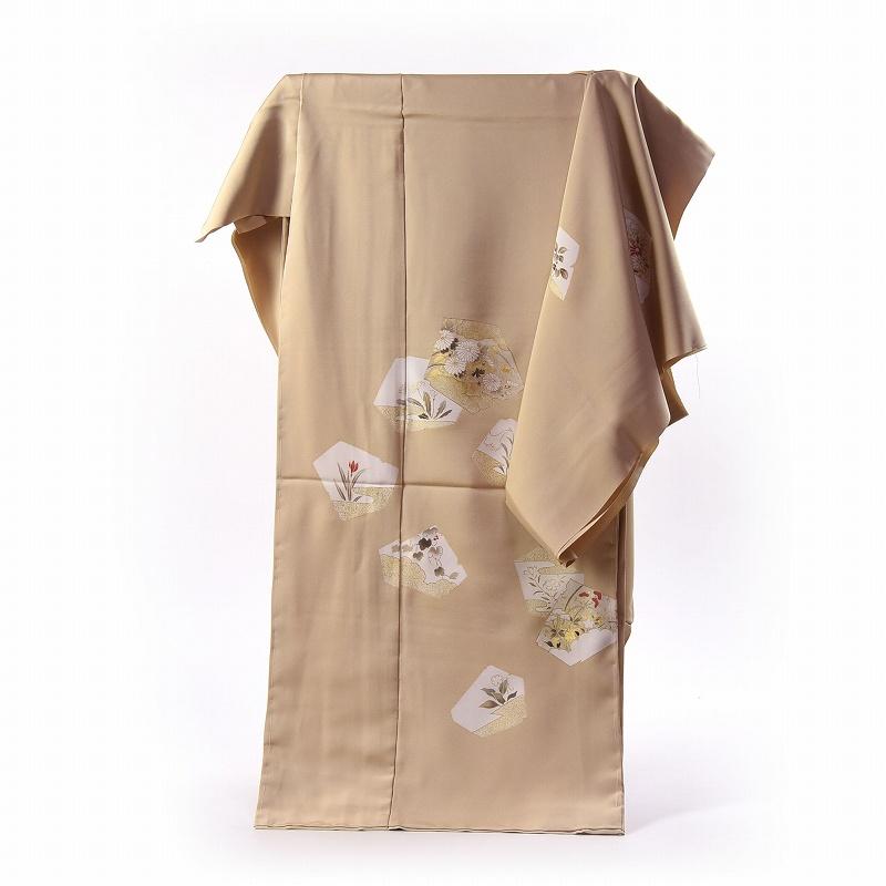 訪問着 手縫いお仕立て付き 染の北川 手描き 四季花々(刺繍入り) ベージュ色 身長170cm位まで、裄70.5cmまで 送料無料 付下げ訪問着