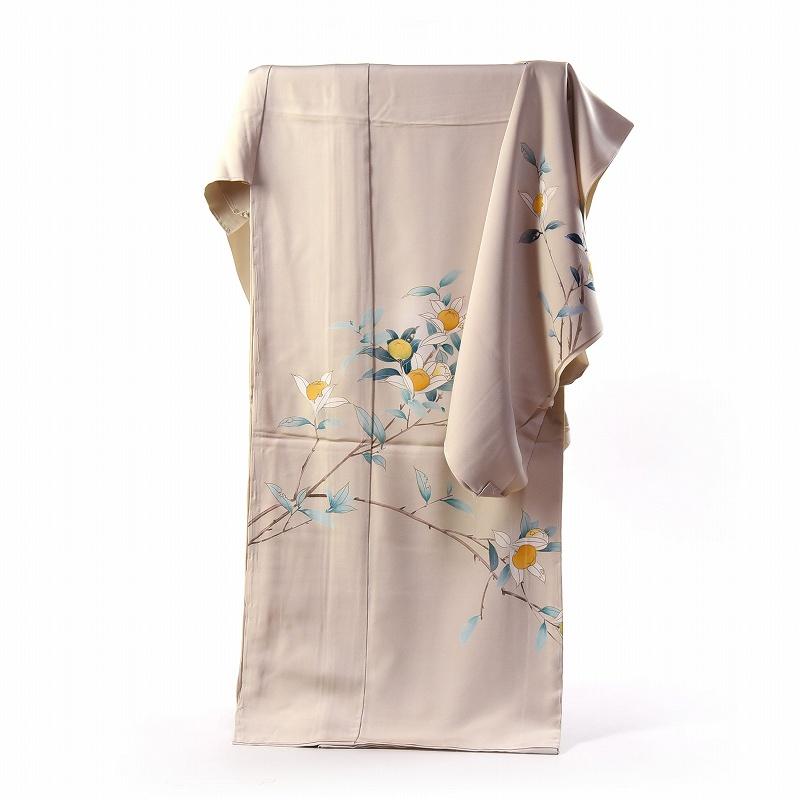 訪問着 手縫いお仕立て付き 染の北川 手描き 写実的な橘文様 生成り系色 身長170cm位まで、裄70.5cmまで 送料無料
