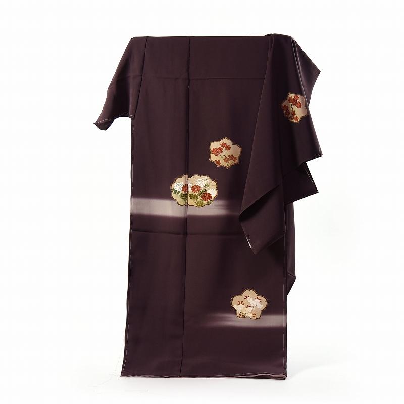 訪問着 手縫いお仕立て付き 染の北川 手描き 霞に菊楓、桜(刺繍入り) 深い紫系色 身長168cm位まで、裄69cmまで 送料無料 付下げ訪問着