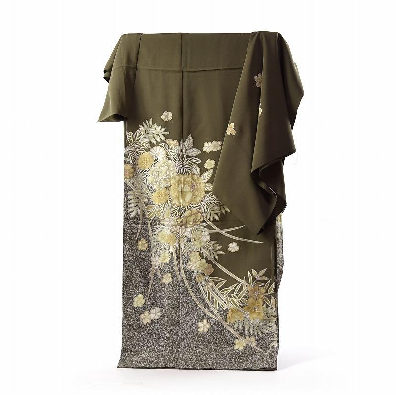 訪問着 手縫いお仕立て付き 染の北川 手描き たたき染にデザイン化のお花 鶯色 身長167cm位まで、裄68.5cmまで 送料無料
