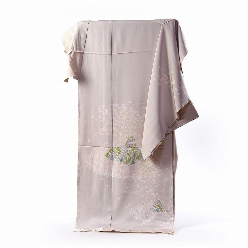 訪問着 手縫いお仕立て付き 染の北川 手描き 枯山水(日本庭園) ごく薄い灰色 身長165cm位まで、裄68cmまで 送料無料