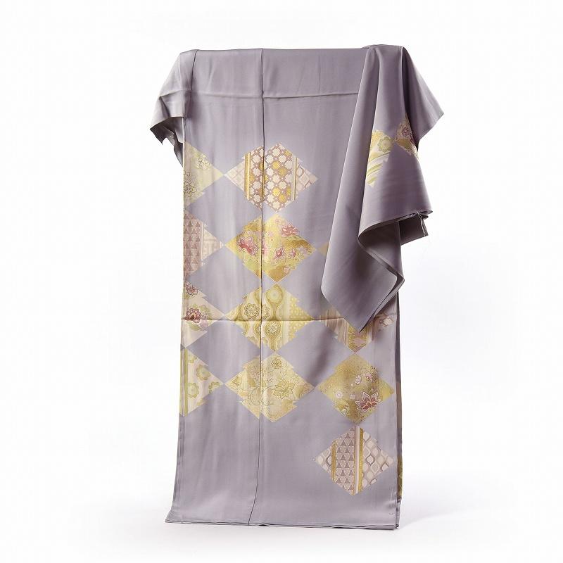 訪問着 手縫いお仕立て付き 染の北川 手描き 松皮菱に唐花文様 明るめの灰色 身長165cm位まで、裄68cmまで 送料無料
