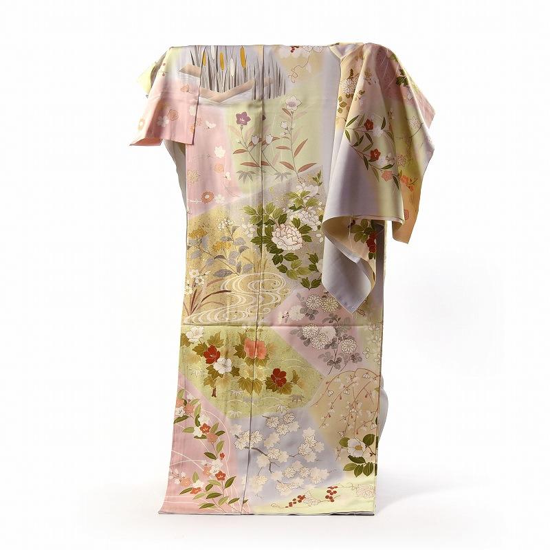 訪問着 手縫いお仕立て付き 染の北川 手描き 裂取りに豪華四季花々 明るめの灰色 身長168cm位まで、裄69.5cmまで 送料無料