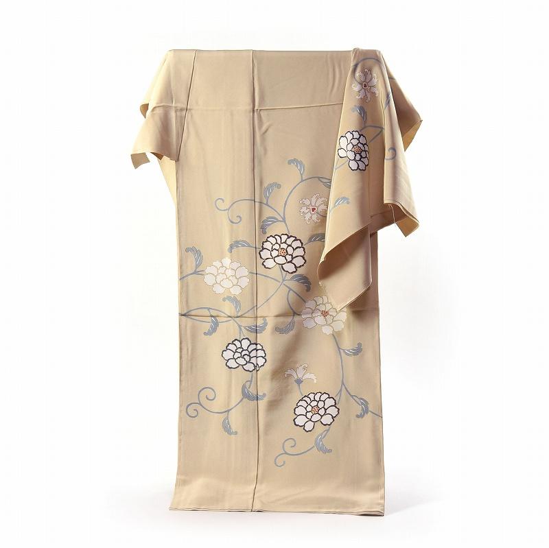 訪問着 手縫いお仕立て付き 染の北川 手描き 牡丹唐草文様 薄クリーム色 身長168cm位まで、裄69.5cmまで 送料無料