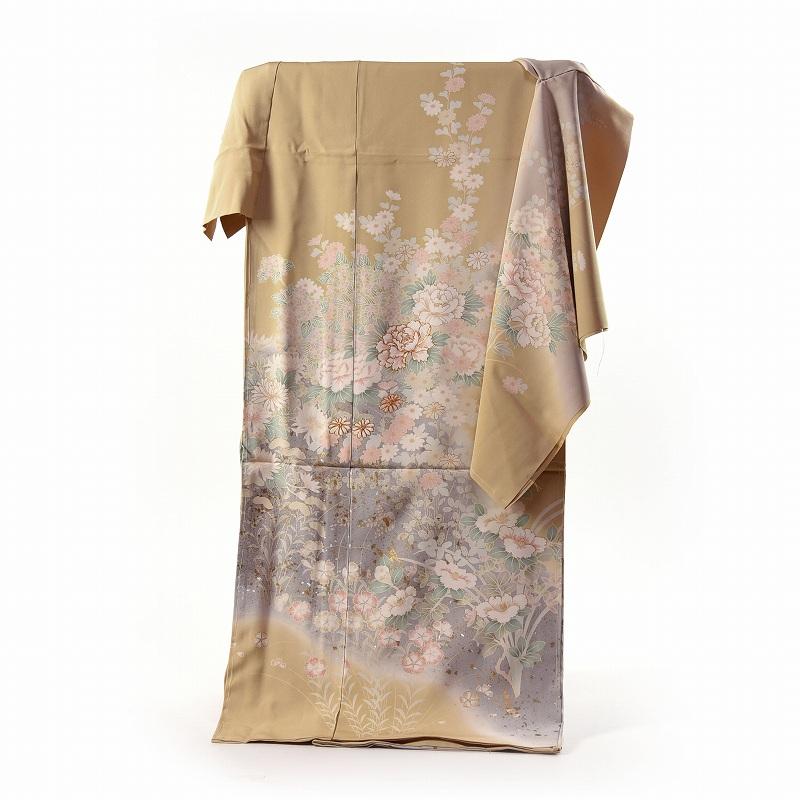 訪問着 手縫いお仕立て付き 染の北川 手描き 写実的な牡丹、撫子、女郎花、椿、菊 芥子系色 身長170cm位まで、裄70cmまで 送料無料