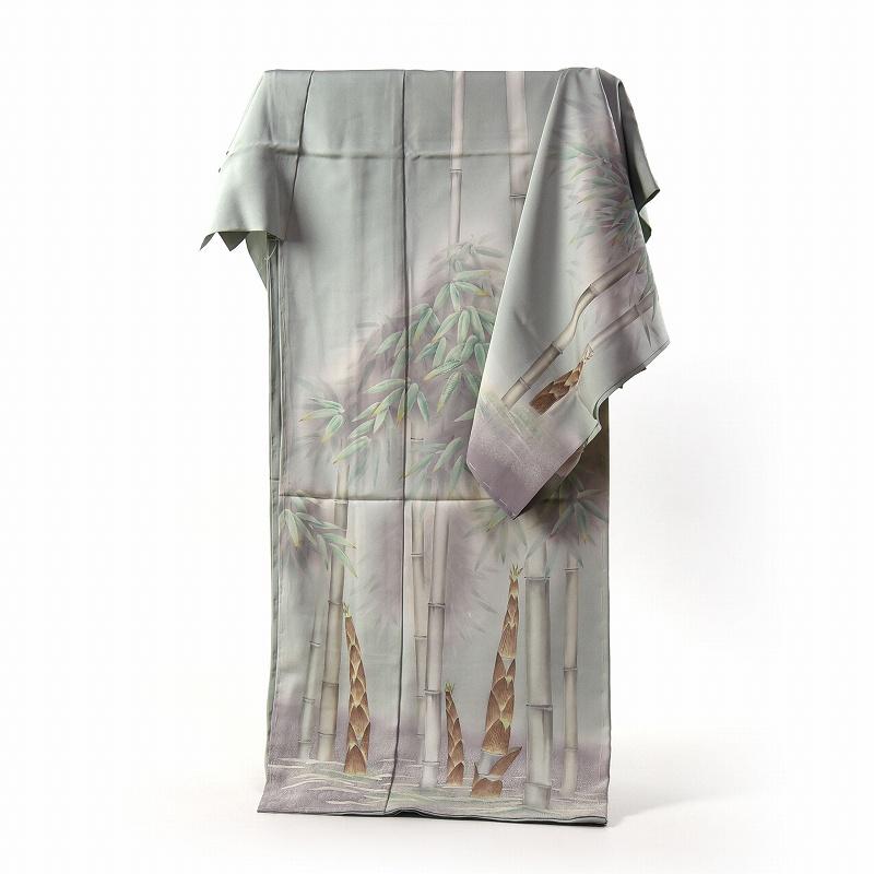 訪問着 手縫いお仕立て付き 染の北川 手描き 写実的な竹とタケノコ 薄緑色 身長167cm位まで、裄68.5cmまで 送料無料