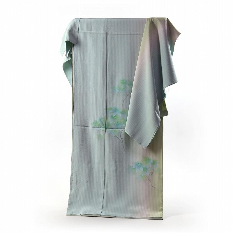 訪問着 手縫いお仕立て付き 染の北川 手描き 若葉の楓 青楓 ミントグリーン色 浜ちりめん 身長167cm位まで、裄68.5cmまで 送料無料
