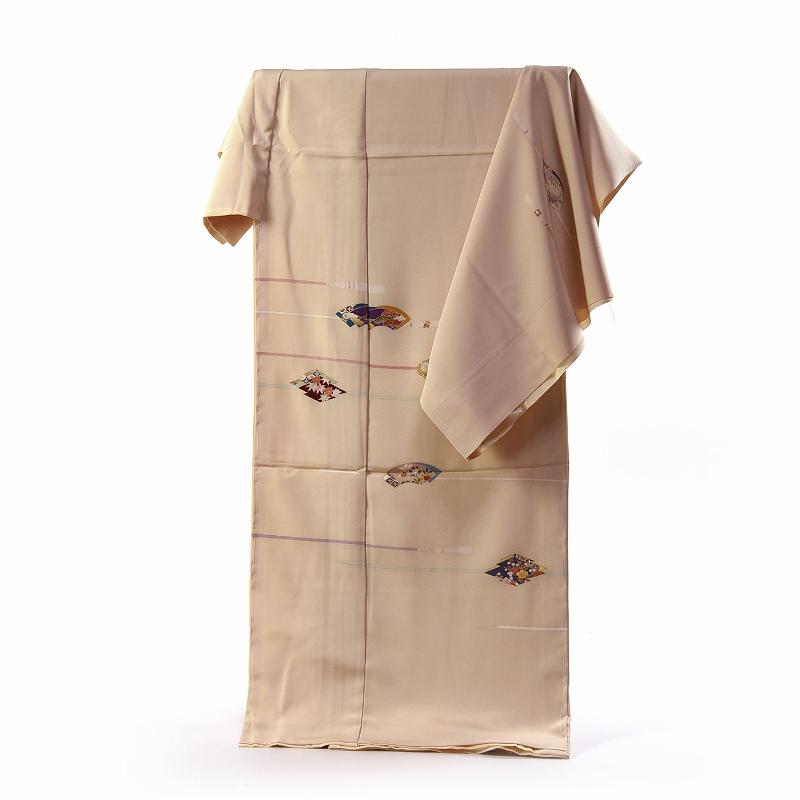 訪問着 手縫いお仕立て付き 染の北川 手描き 房付き紐 クリームベージュ色 身長163cm位まで、裄67.5cmまで 送料無料 付下げ訪問着