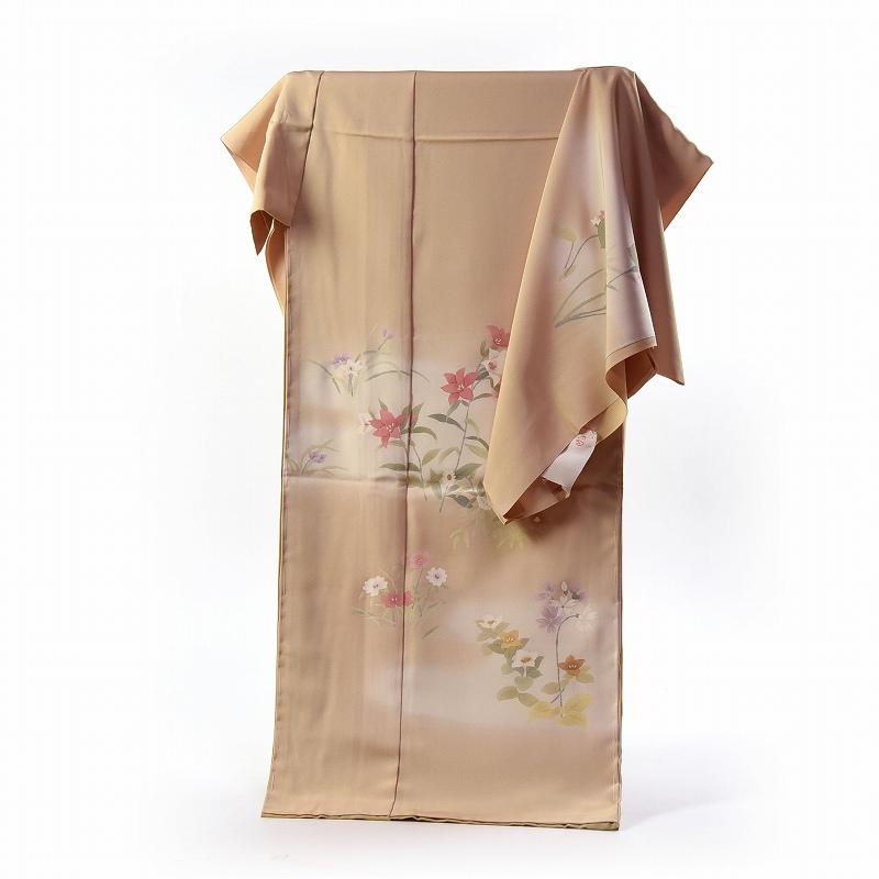 訪問着 手縫いお仕立て付き 染の北川 手描きのお花 ベージュ色 身長165cm位まで、裄68cmまで 送料無料 付下げ訪問着