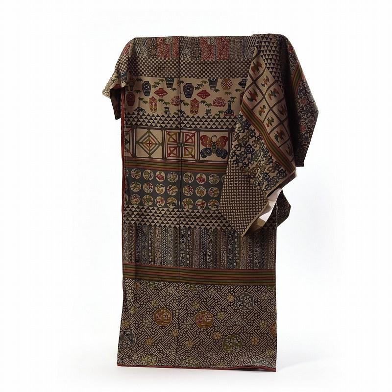 訪問着 フルオーダー手縫いお仕立て付き 十日町「根茂織物」謹製 更紗紅型柄 薄茶系色 身長170cm位まで、裄70.5cmまで 送料無料