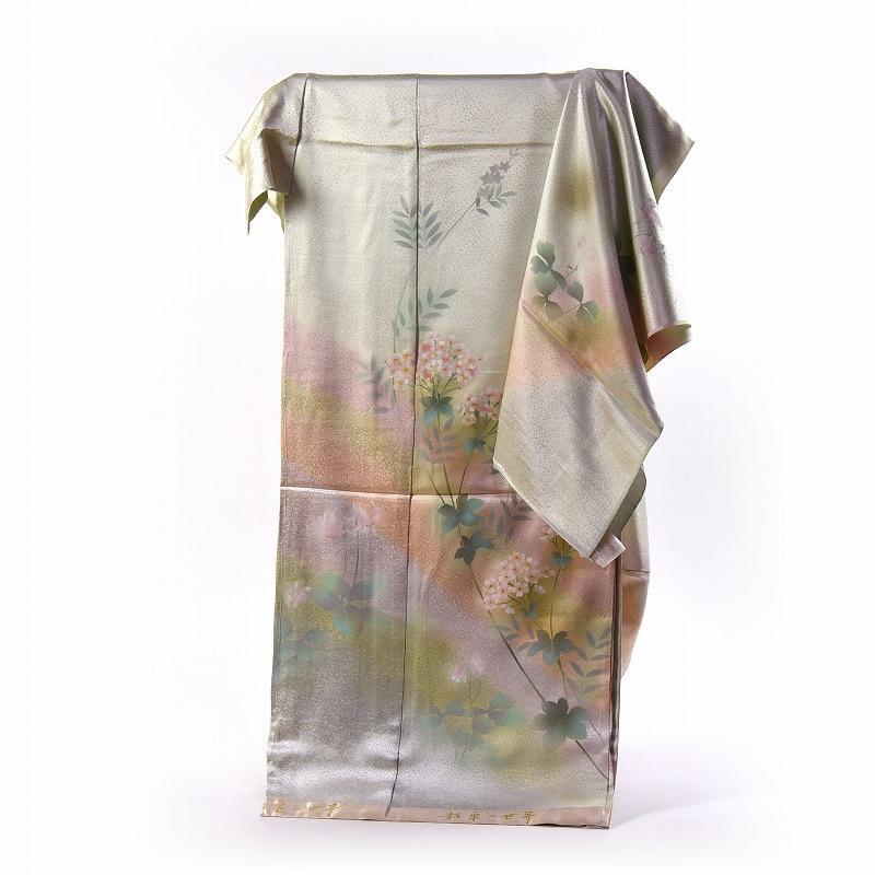 訪問着 フルオーダー手縫いお仕立て付き 手描友禅 龍泉の世界 淡い虹ぼかし 身長167cm位まで、裄68.5cmまで 送料無料