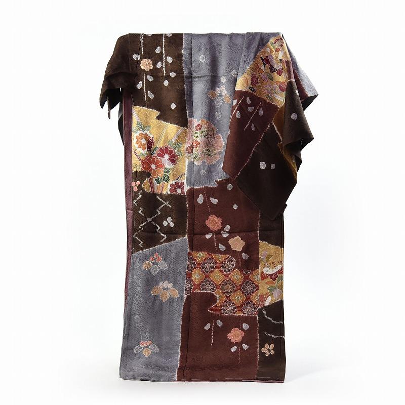 フルオーダー手縫いお仕立て付き 本紋地紋生地 手描き花々と手絞り 茶系色 身長170cm位まで、裄72.5cmまで 送料無料