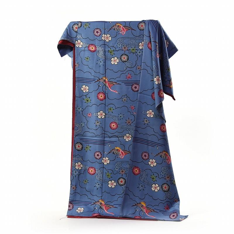 振袖 琉球紅型染 フルオーダー国内手縫い仕立て付き パールトーン加工付き 超逸品 本場琉球びんがた 城間栄順 変わり無地 落ち着いた青色