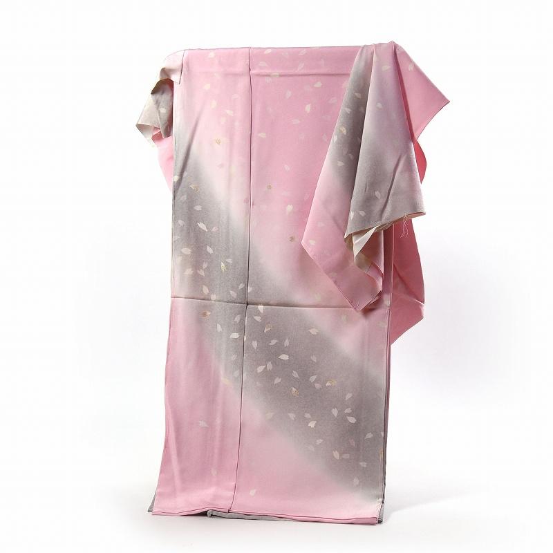 訪問着 フルオーダー手縫いお仕立て込み 京都「しょうざん」謹製 浜ちりめん ピンク色、灰色 花びら吹き寄せ文様 【着物/和服/和装/付き添い/お出かけ】【身長170cmまで、裄72.5cmまで】【送料無料】