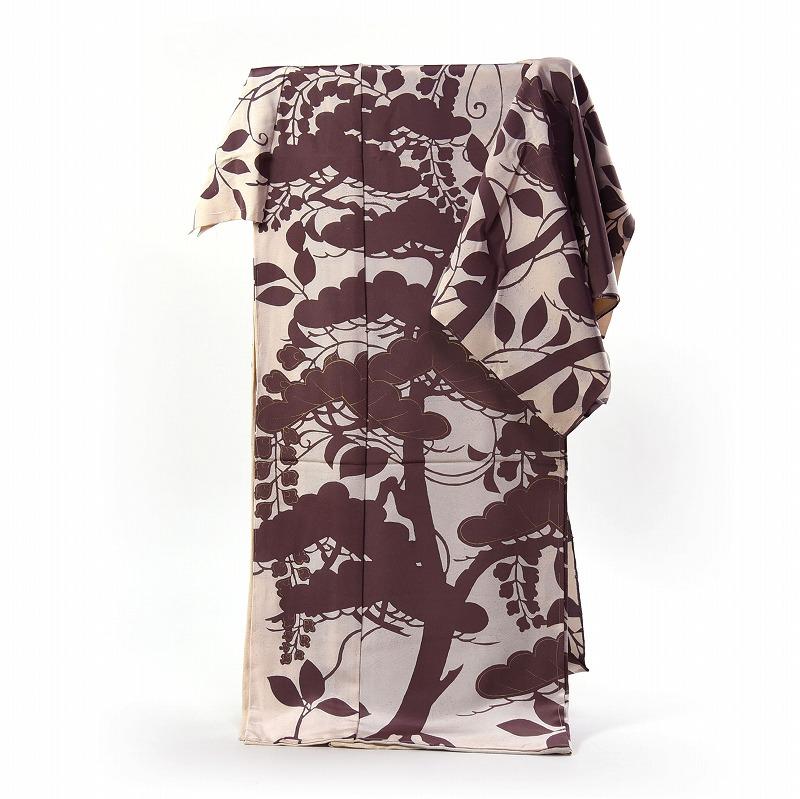 訪問着 フルオーダー手縫いお仕立て込み 京都「しょうざん」謹製 一珍染 浜ちりめん 生成り色、茶色 風景文様 【着物/和服/和装/付き添い/お出かけ】【身長165cmまで、裄68cmまで】【送料無料】