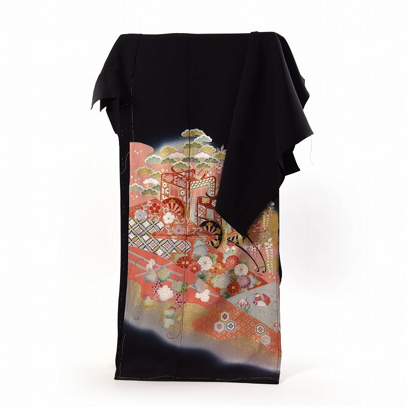 黒留袖 フルオーダー手縫いお仕立て付き 京友禅作家「松井青々」氏作 花々御所車 送料無料