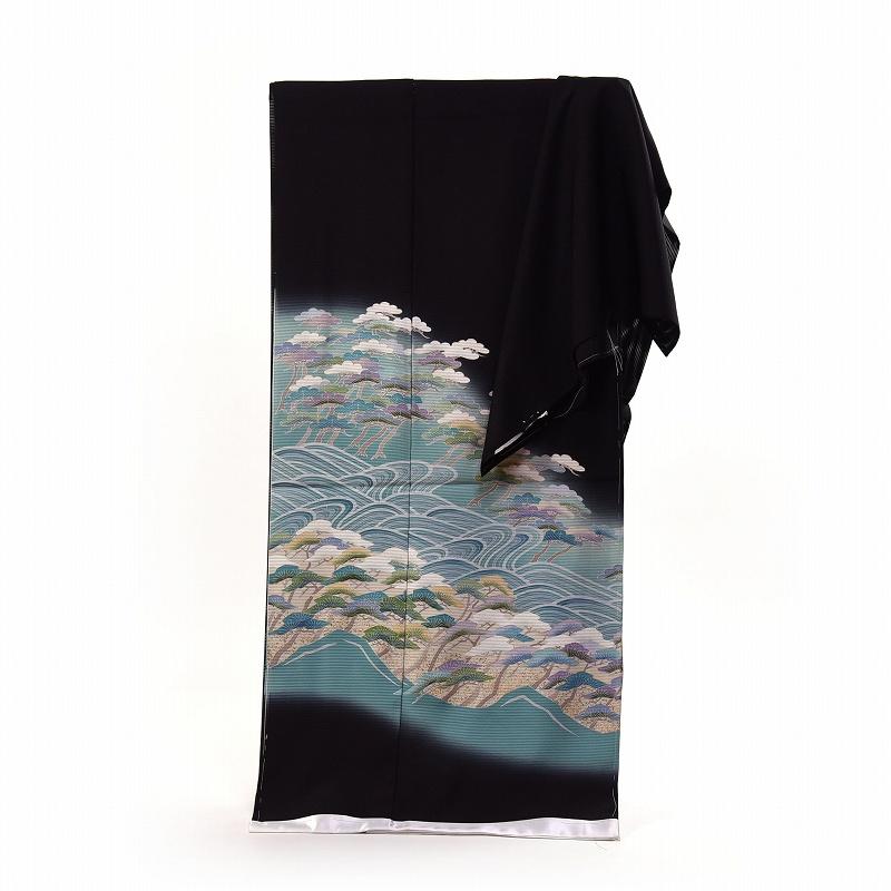 夏物 黒留袖 送料無料 手縫いお仕立てと五つ紋入れ付き 絽 波に松 作家もの 身長167cmまで、裄68.5cmまで