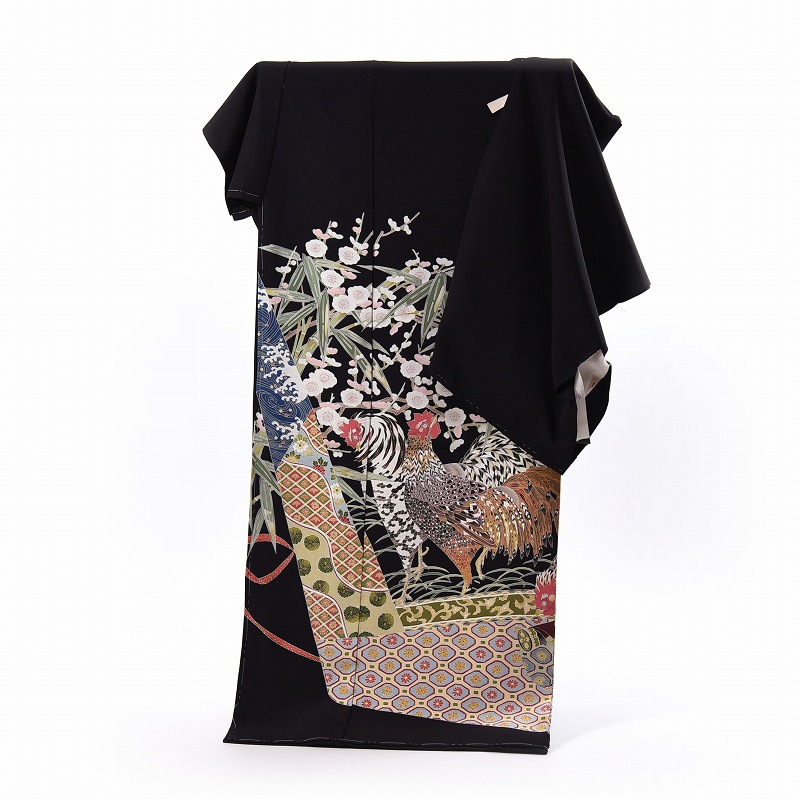 黒留袖 フルオーダー手縫いお仕立てと五つ紋入れ付き 本加賀友禅 柿本市郎作 群鶏 身長168cmまで、裄69.5cmまで 送料無料