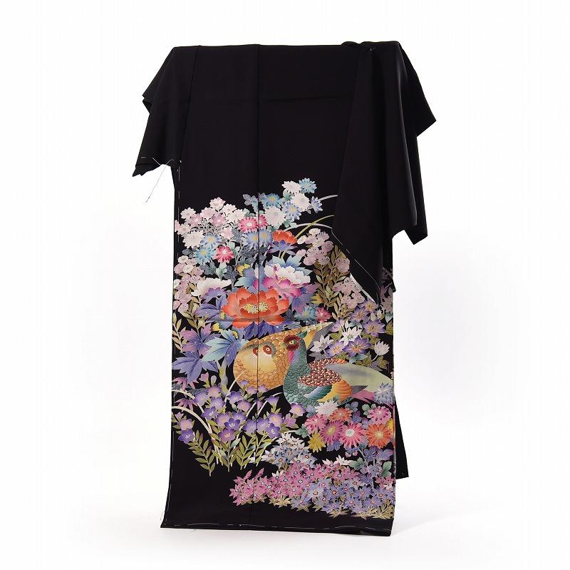 黒留袖 フルオーダー手縫いお仕立て付き 友禅 手描き 作家もの 花々に鳥 浜ちりめん 送料無料