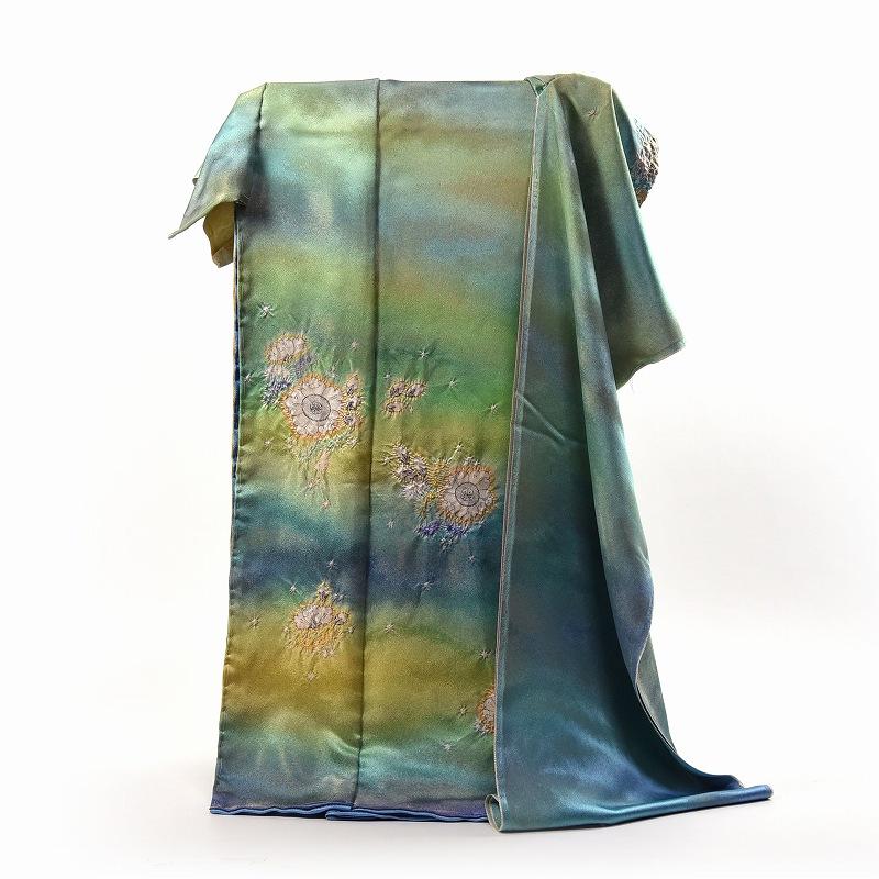 初代久保田一竹 国内手縫いお仕立て付き 一竹辻が花 振袖 金糸織り込み生地 黄緑色、青緑色