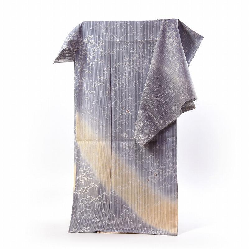 紗の訪問着 フルオーダー手縫いお仕立て付き 夏物 京都名門「染の北川」謹製 秋草模様 送料無料