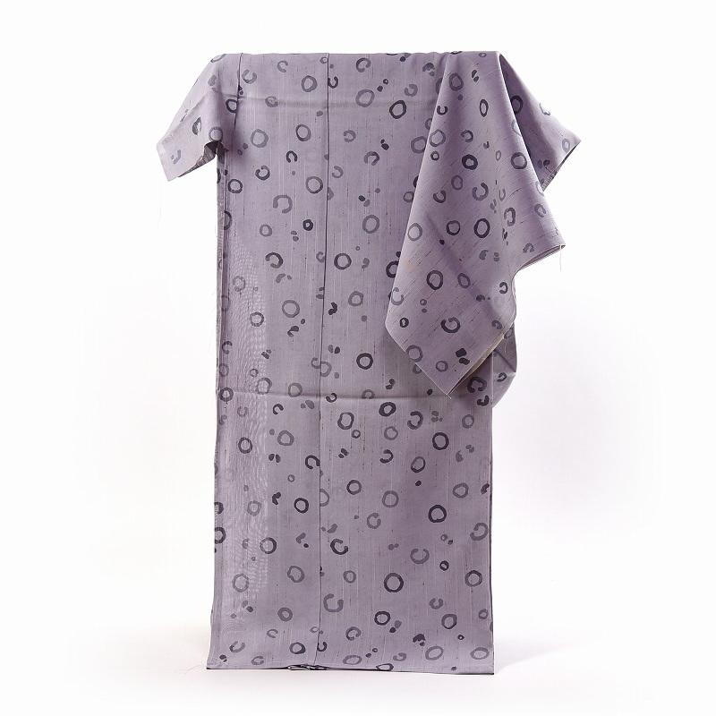 紗紬 フルオーダー手縫いお仕立て付き 夏物 十日町「青柳」謹製 ぜんまい入り 薄紫/小円形 送料無料