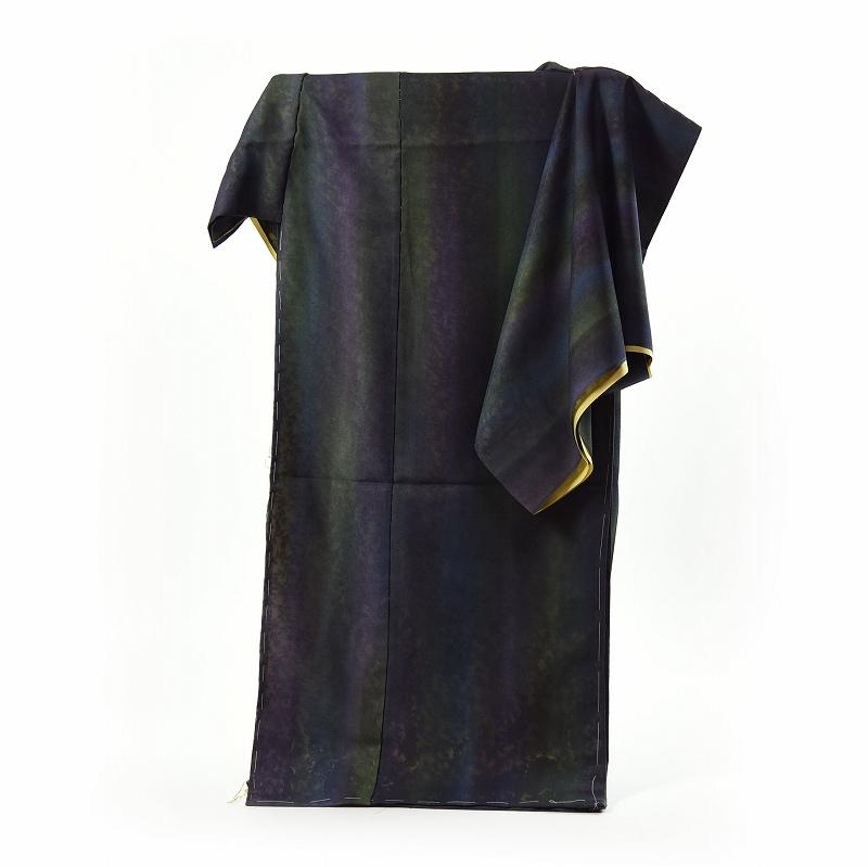 紗合わせ フルオーダー手縫いお仕立て付き 夏物 紗袷 草花模様の紗に鶸系色の通し裏 お洒落着物 深緑のグラデーション 紗合せ 紗あわせ 送料無料