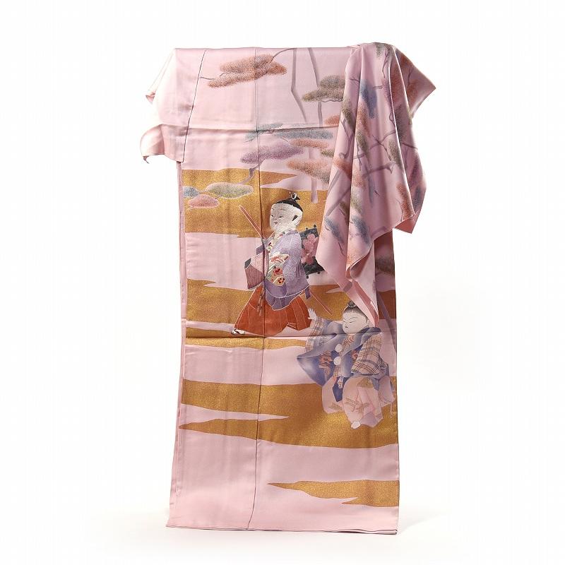 訪問着 フルオーダー手縫いお仕立て付き 手描き童子柄に蘇州刺繍 アンティーク 桜系色 【着物/和服/和装/付き添い/準礼装/セミフォーマル】【身長160cmまで、裄69cmまで】送料無料