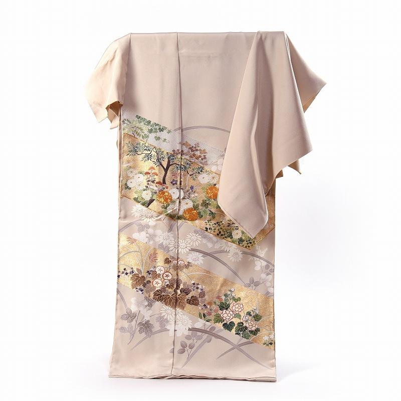 吉澤の友禅 色留袖 フルオーダー手縫いお仕立てと五つ紋付き 十日町産 秋の植物 薄いベージュ色 身長173cmまで、裄71cmまで 送料無料