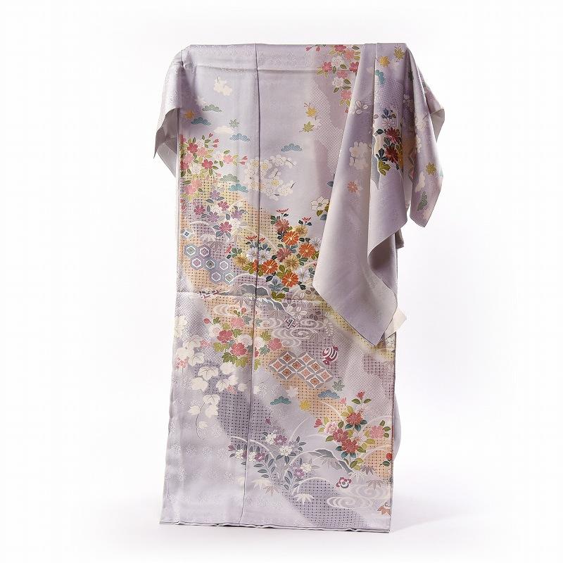 スワトウ刺繍 訪問着 袷フルオーダー手縫いお仕立て付き ぼかし熨斗に花々 明るい灰色 身長170cmまで、裄70.5cmまで 結婚式・披露宴・パーティ・お見合い・結納・入卒式・宮参り・七五三に♪送料無料