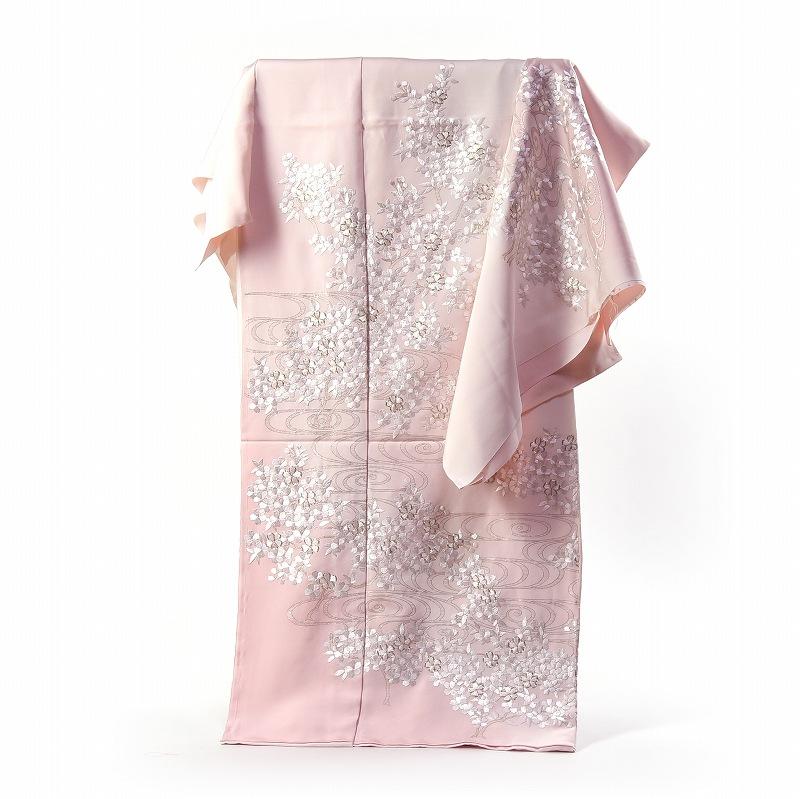 豪華手刺繍 訪問着 袷フルオーダー手縫いお仕立て付き 観世水に桜 淡い桜色 身長170cmまで、裄71.5cmまで 結婚式・披露宴・パーティ・お見合い・結納・入卒式・宮参り・七五三に♪送料無料