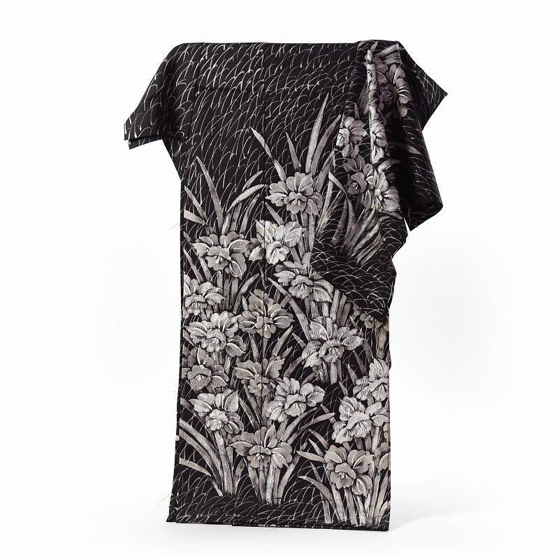 ろうけつ染 訪問着 フルオーダー手縫いお仕立て付き 縮緬生地 菖蒲(春の着用におすすめ)黒地に白色 モノトーン 身長162cmまで、裄66.5cmまで 送料無料
