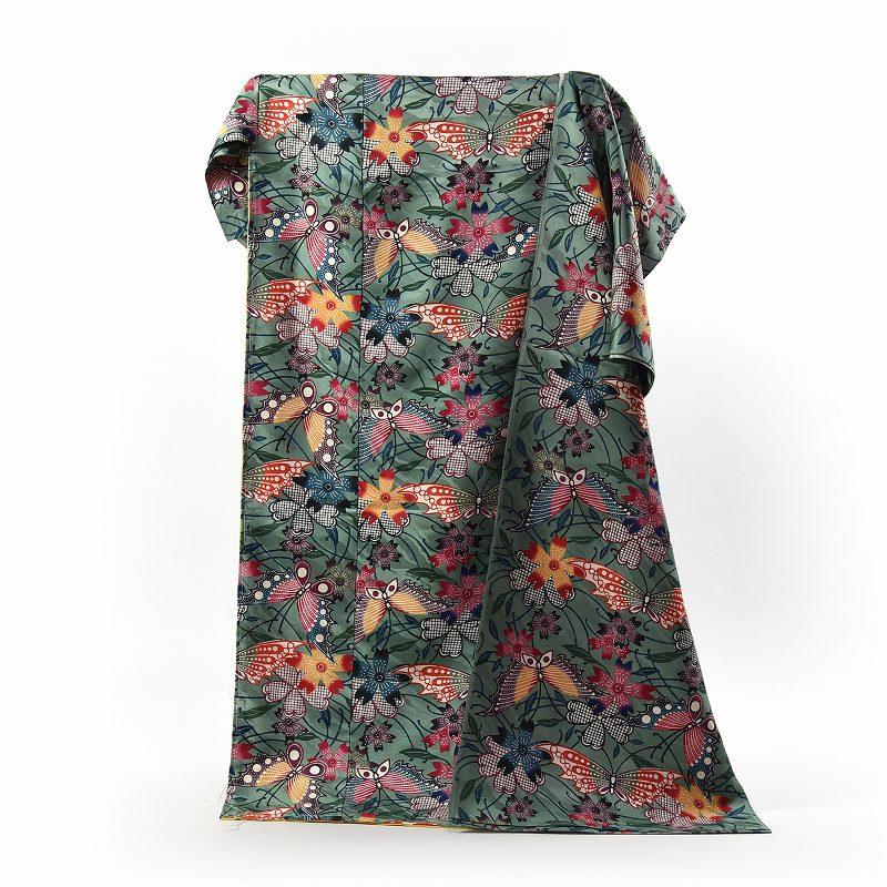 振袖 城間栄順 国内手縫いお仕立て付き 本場琉球びんがた 蝶 くすんだ緑色 綸子 琉球紅型染 サイズ大き目対応