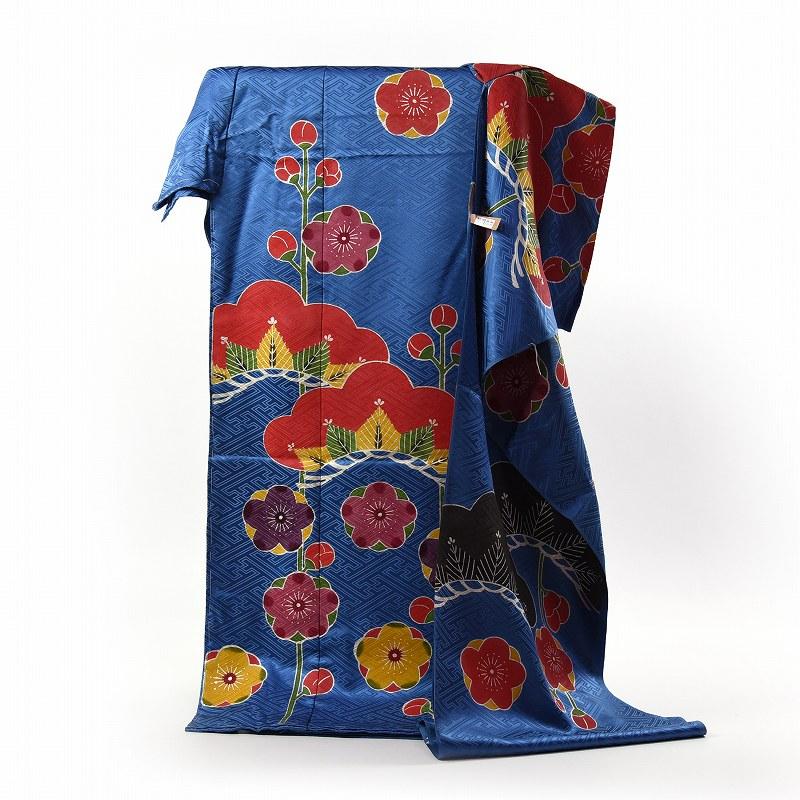 振袖 手縫いお仕立て付き 紅型 型絵染 下平清人 綸子生地 御振袖 青色 松と梅 送料無料