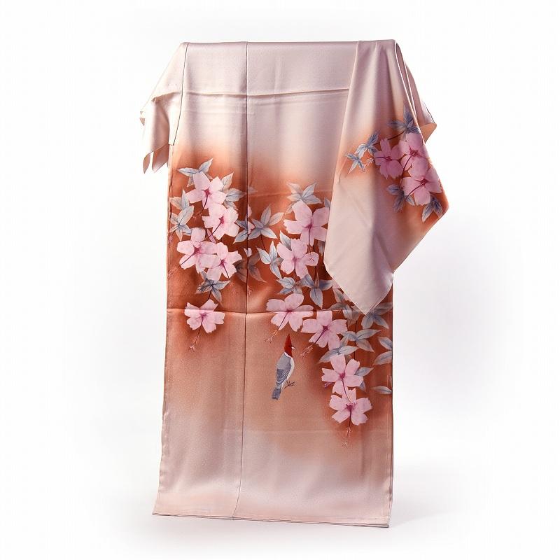 訪問着 フルオーダー手縫い袷お仕立て付き 貴重! 「上村松篁」画 手描き 淡いピンク色 日本画・お花に鳥【送料無料】