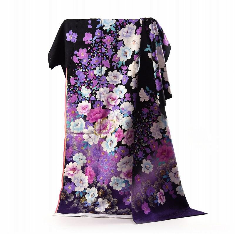 振袖 フルオーダー手縫いお仕立て付き 十日町「関芳」製 ブライダルファッションデザイナー「桂由美」 黒地 刺繍入り牡丹 身長175cm位まで、裄72.5cmまで 送料無料