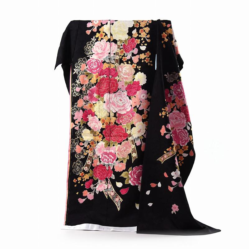 振袖 フルオーダー手縫いお仕立て付き 十日町「関芳」製 ブライダルファッションデザイナー「桂由美」 黒地 刺繍入り牡丹 身長175cm位まで、裄72.5cmまで 送料無料 ラインストーン入り