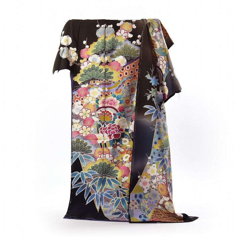 振袖 フルオーダー手縫いお仕立て付き 十日町製 作家物 几帳に花々 深い鶯色 身長167cm位まで、裄68.5cmまで 振り付き