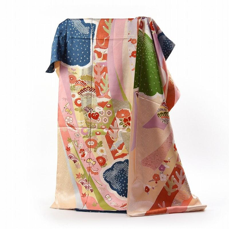 振袖 フルオーダー手縫いお仕立て込み 京都トキワ商事謹製 御振袖 クリーム色、灰色、緑色 大熨斗に雲、宝尽くし 絞り入り 送料無料