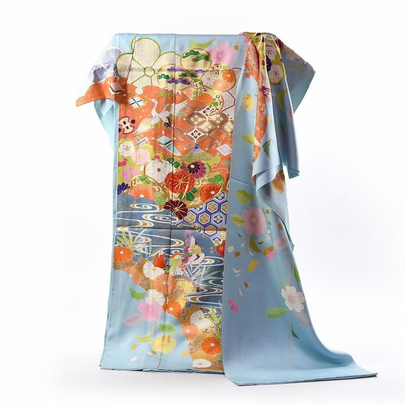 振袖 フルオーダー手縫いお仕立て込み 京都 トキワ商事 宝尽くし 御振袖 水色 送料無料