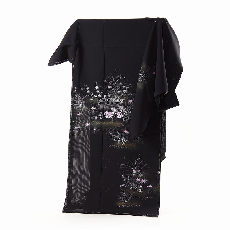 夏訪問着 フルオーダー手縫い単衣お仕立て付き 夏物キモノ 三本絽の訪問着 手描き 黒地/牡丹、菖蒲、松、ススキ、萩