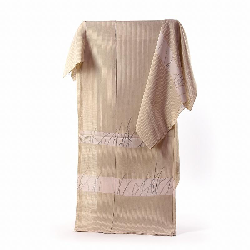 夏訪問着 フルオーダー手縫い単衣お仕立て付き 夏物キモノ 夏芭蕉の訪問着 染め柄 薄ベージュ/木賊