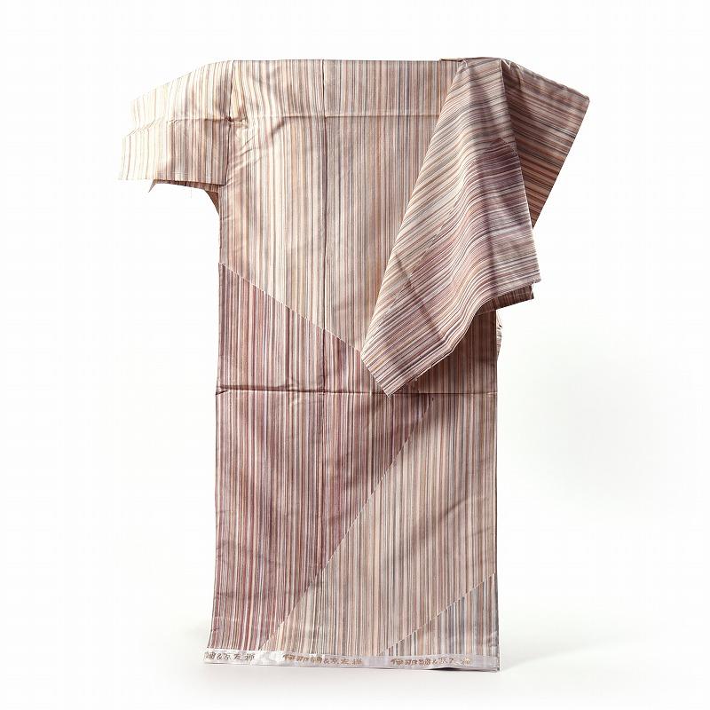 伊那紬の訪問着 フルオーダー手縫いお仕立て付き 逸品!長野県産 手織「伊那紬」 お洒落訪問着 縞模様【送料無料】
