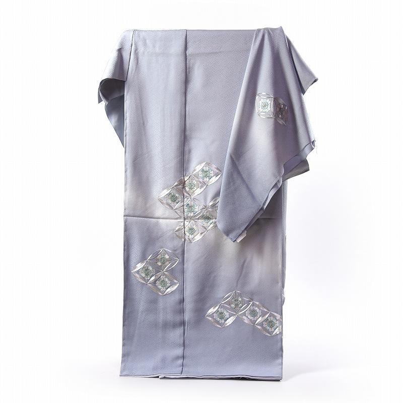 刺繍 訪問着 袷フルオーダー手縫いお仕立て付き 銀駒刺繍の七宝 水色みの明灰色 身長170cmまで、裄70.5cmまで 結婚式・披露宴・パーティ・お見合い・結納・入卒式・宮参り・七五三に♪送料無料