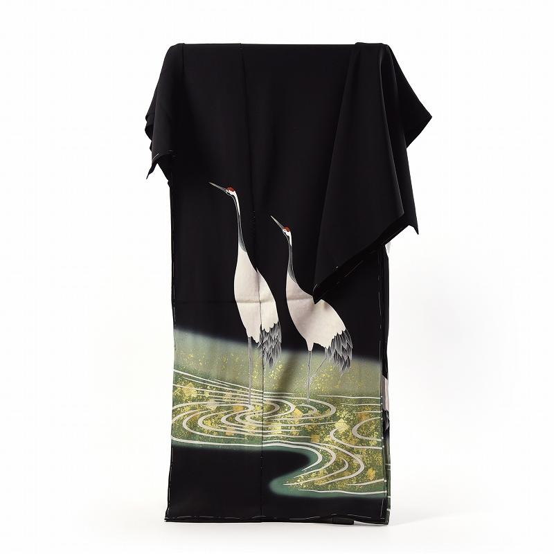 黒留袖 手縫いお仕立てと五つ紋入れ付き 内と良 作家物 手描き 水辺に鶴 身長167cm位まで、裄68.5cmまで フォーマル 礼装 送料無料