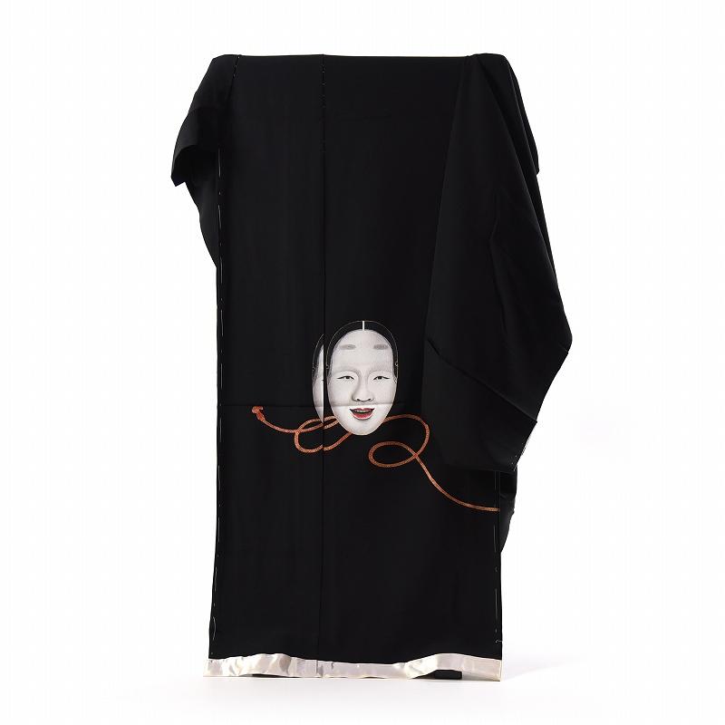 黒留袖 手縫いお仕立てと五つ紋入れ付き 作家物 手描き 能面 身長167cm位まで、裄68.5cmまで フォーマル 礼装 送料無料