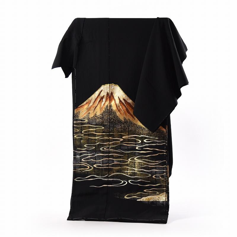 黒留袖 手縫いお仕立てと五つ紋入れ付き 金彩工芸師「加藤信和」 赤富士 身長163cm位まで、裄67.5cmまで フォーマル 礼装 送料無料